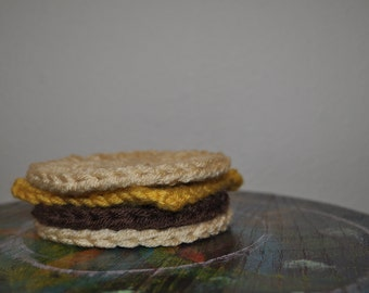 Crocheted Plain Cheeseburger Coaster Set