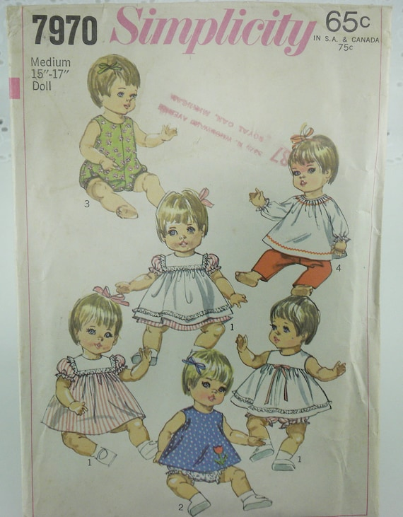vintage sewing pattern baby doll clothes 1960s simplicity 7970