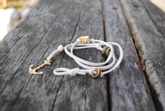 Ivory Leather Wrap Bracelet with Gold Anchor Hook