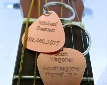 Personalized Keychain - Engraved Copper Guitar Pick Keychain - Name Tag - Id Tag - Luggage Tag-  Boyfriend Gift,  Husband