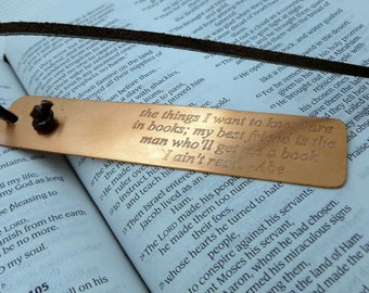 Personalized Bookmark - Engraved Copper Bookmark - Custom - Boyfriend Husband Wife Girlfriend Gift - 7 year - Personalized