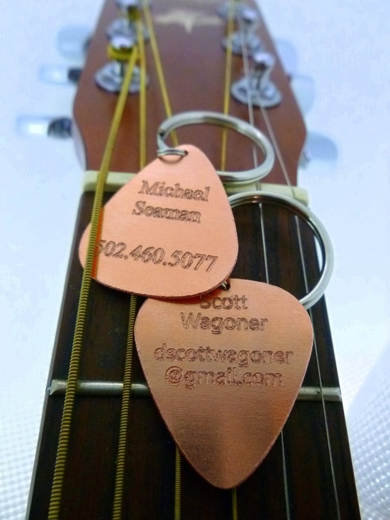 Personalized Keychain - Engraved Copper Guitar Pick Keychain - Name Tag - Id Tag - Luggage Tag-  Boyfriend Gift,  Summer Sale, Husband