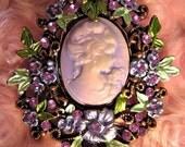 HUGE CLEARANCE SALE Vintage 1980's Royal Purple FLoral Cameo, Marie Antoinette
