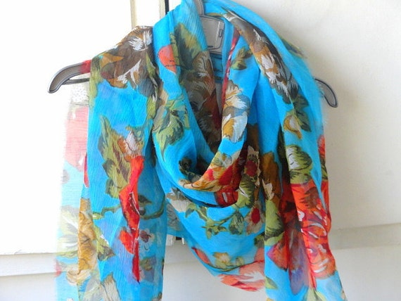 Red and Blue floral chiffon fabric supply scarf stole