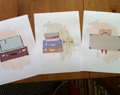 Set of 3 - 14,9x21 cm Print of Suitcases