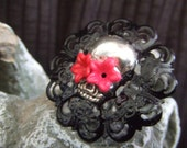 Day of the Dead Sugar Skull  adjustable ring with pink flower cabochons