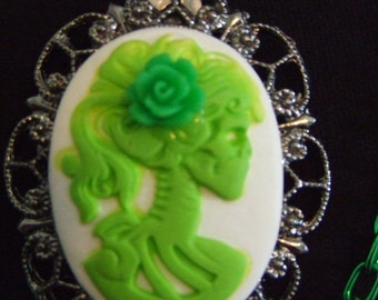 Green and white lolita pinup zombie girl cameo double strand chain necklace