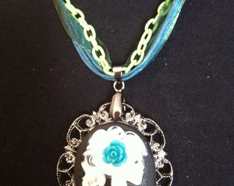 lime green and turquoise lolita zombie girl necklace