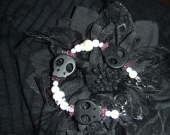 Black, Purple, and White Beaded Skull bracelet with toggle clasp