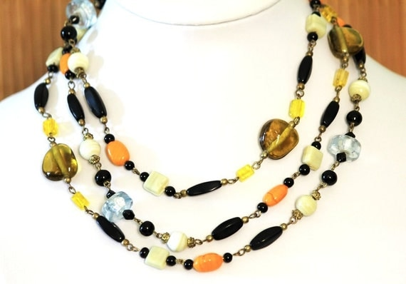 Handmade Long multi color glass beaded necklace
