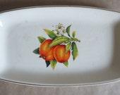 Vintage Antique Orange Platter, Gold Rimmed, 1967 Made in Romania