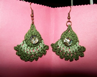 Shades of Green Crocheted Earrings