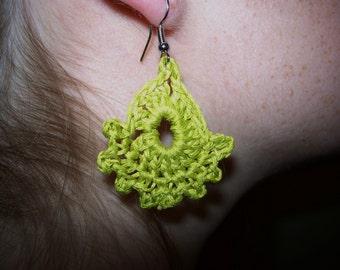 Chartreuse Crocheted Earrings