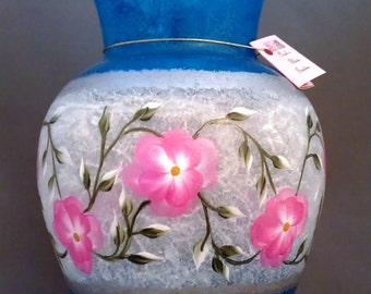 Frosted Hand Painted Vase
