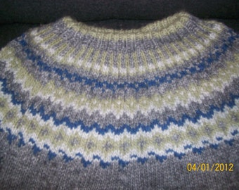 "Hand Knit Fair Isle Sweater 42"" chest  Grey Green Blue White"
