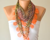 cotton scarf,orange leopard cotton scarf headband necklace cowl with Lace Edge womens scarves summer scarves