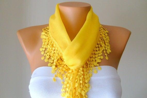 yellow hand made cotton scarf headband necklace cowl with Lace Edge headband necklace bandana