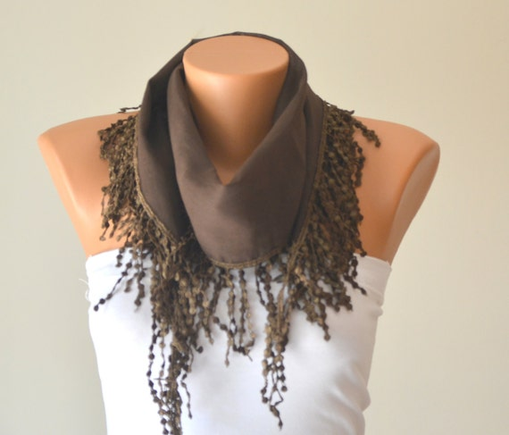 dark brown hand made cotton scarf headband necklace cowl with lace edge headband bandana women scarves summer trend cotton fabric scarf