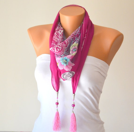 fusia hand made silky cotton tringle scarf designed with naturel gemstone and tibetan silver chams