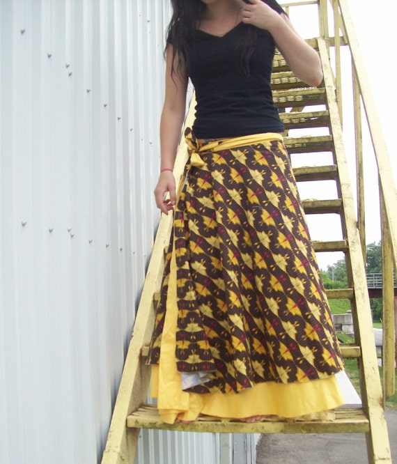 Butterfly Wrap Skirt - Reversible. RESERVED for Michelle Wright