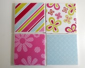 Ceramic Tile Drink Coasters-Spring Theme (set of 4)
