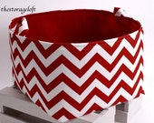 """13""""x13""""10"""" Storage Basket Laundry Toy Bin Storage Container - Red and White Chevron Fabric"""
