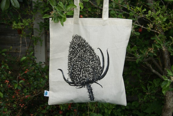 Hand Painted Dried Thistle Tote Bag