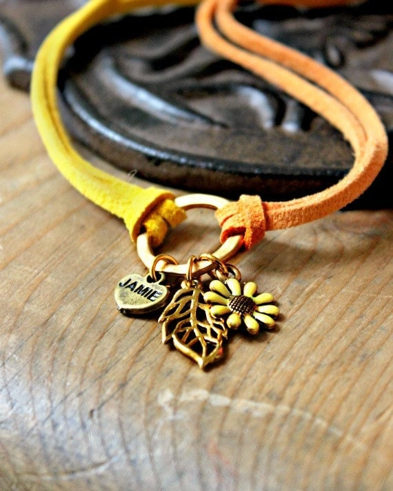 Hoop & Sunflower Charm Bracelet- Everyday Style, Yellow, Orange and Gold Suede Bracelet