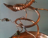 Copper Bird Feeder with Hand Forged Leaves and wrapped antique marbles