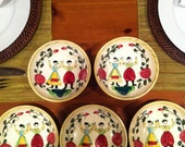 Set of five vintage European style bowls