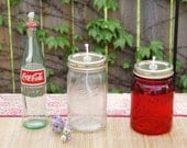 Vintage Depression Style Glass Mason Jar and Coke Bottle Oil Lanterns