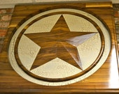 Custom carved wood texas star, beautiful piece for a mantle or hanging art. It is BIG 3' by 3'.