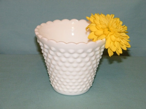 Vintage Milk Glass Hobnail Vase