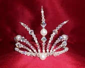 PRICE REDUCTION! White Russian Tiara with White Pearls and Swarovski Crystals
