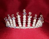 Crystal Crown.  Ivory Pearl, Swarovski Crystal and Wire Work Tiara