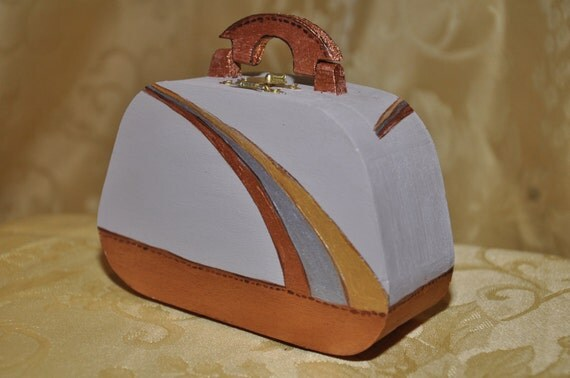 Hand painted taupe, wooden purse box