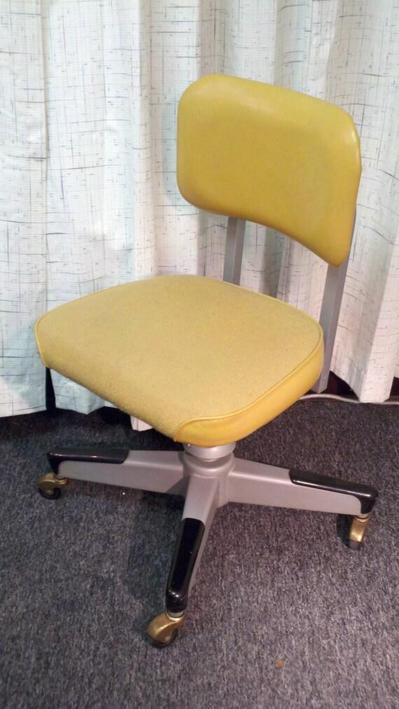 Mid century 60's 70's  tweed vinyl steel swivel reclining rolling office chair