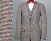 Vintage Mens Suit 1970s CHAPS RALPH LAUREN American Mod 3 Three Piece Windowpane Plaid Wool Suit 38 - 40 Long