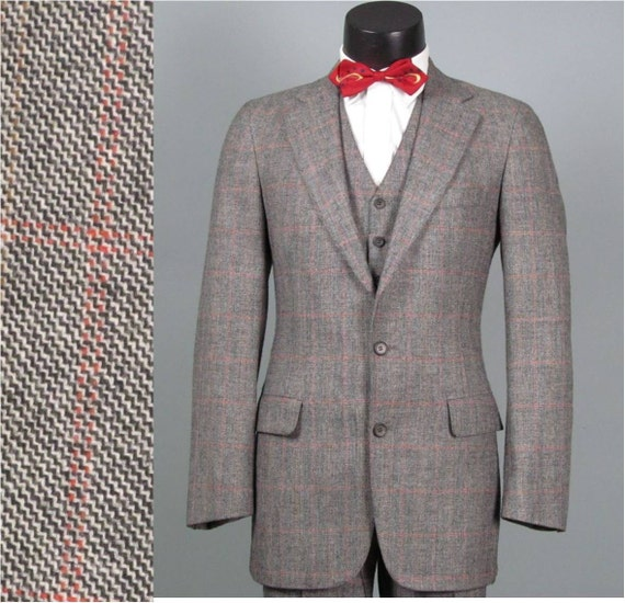 Vintage Mens Suit 1970s CHAPS RALPH LAUREN American Mod 3 Three Piece Windowpane Plaid Wool Suit 38 - 40 Long
