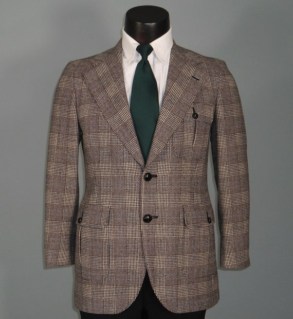 Vintage Mens Sport Coat Jacket 1960s Norfolk Style Belted Back Plaid Sportcoat from DAKS London 36S - 38S