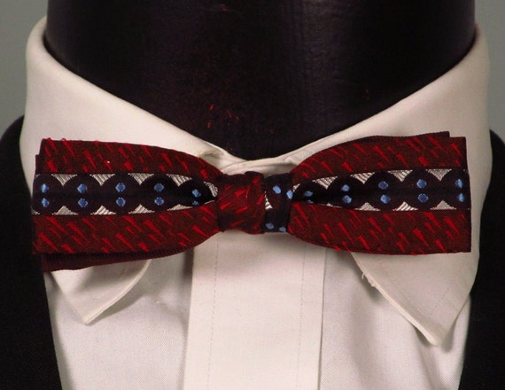 Vintage Mens Rockabilly Bow Tie 1950s 1960s Atomic Shimmer Dot Mens Clip-On Bowtie