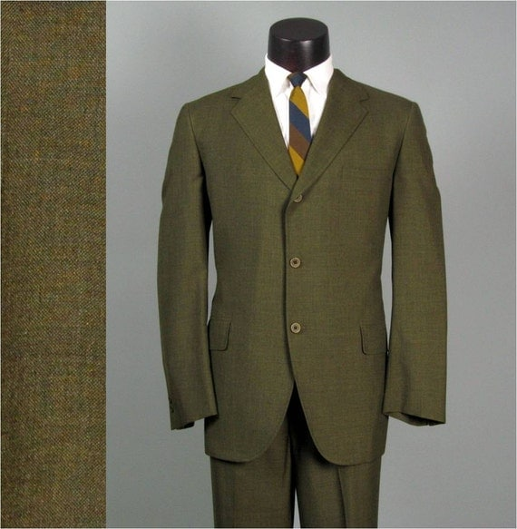 Vintage Mens Suit 1960s HART SCHAFFNER & MARX Dark Olive Lightweight Viracle 2 Two Piece Trad Mens Vintage Suit 44 46