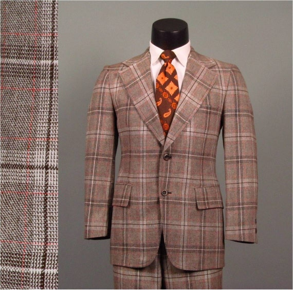 Vintage Mens Suit 1970s AMERICAN MOD Brown Plaid 2 Two Piece Mens Vintage Suit 39 41