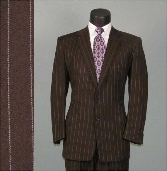 Vintage Men's Suit 1940s Brown Chalk Pinstripe Classic 2 Two Piece Men's Vintage Suit 42 44