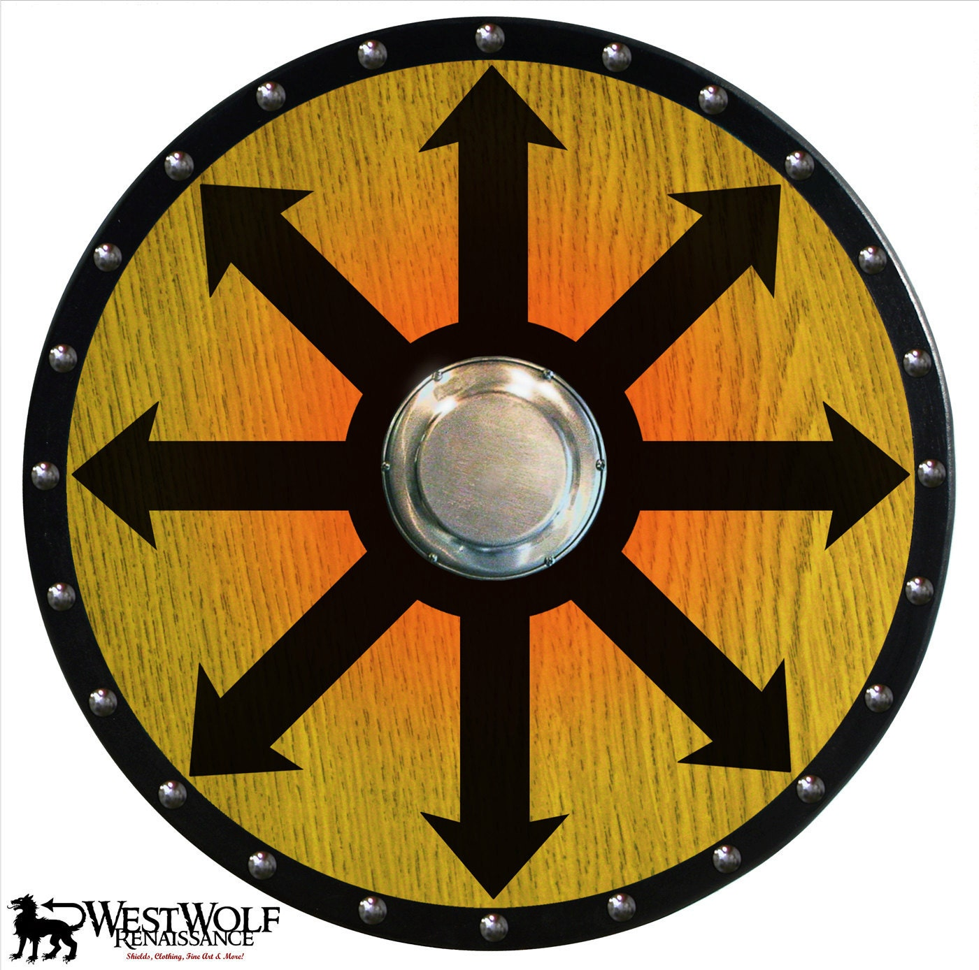 round wooden viking berserker shield with chaos cross design. Black Bedroom Furniture Sets. Home Design Ideas