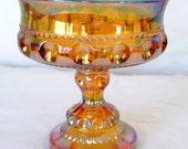 "Gold Indiana Carnival Glass 5"" Wedding Bowl (Thumbprint King's Crown)"