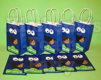 10 Cookie Monster personalized party bags