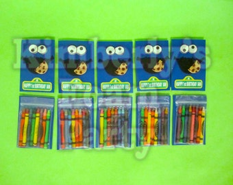 10 Cookie Monster personalized  crayons