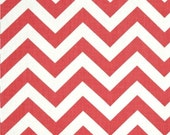 """Coral and White Zig Zag Curtains with Grommets - Two Chevron Curtain Panels - 50""""x84"""" - FREE SHIPPING"""