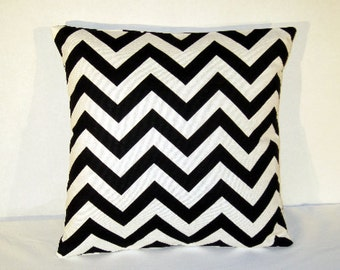 26 Inch Throw Pillow Cover 26x26 inch Chevron Zig Zag Black and White Euro pillow cover